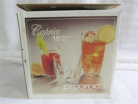 Arcoroc 18 Piece Caprice Glassware Set - NIB
