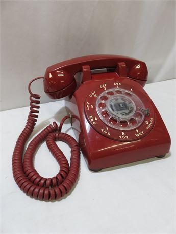 Vintage BELL / WESTERN ELECTRIC Red Rotary Desk Phone