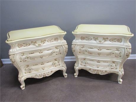 2 Vintage Montalbano 60th Anniversary French Provincial Bombay Style Nightstands