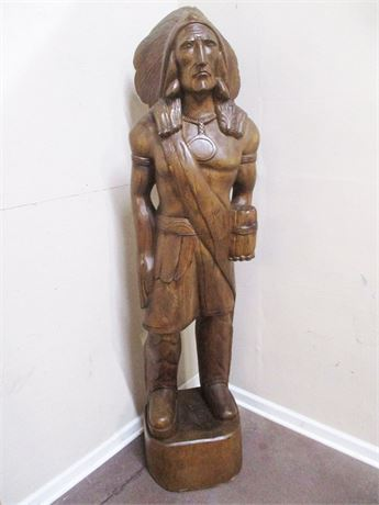 VINTAGE LIFE-SIZED CARVED INDIAN CHIEF