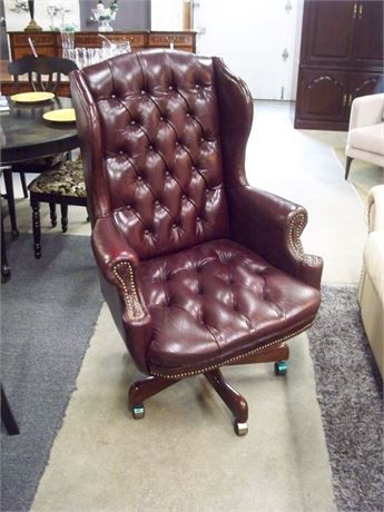LARGE TUFTED WING-BACK LEATHER OFFICE CHAIR WITH NAILHEAD TRIM