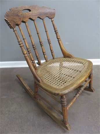 Vintage Cane Seat Rocking Chair