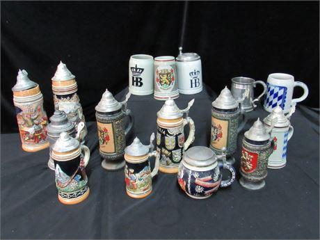 16 Piece Vintage Ceramic Stein/Mug Lot