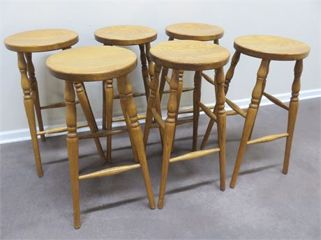 Set of 6 Solid Oak Stools