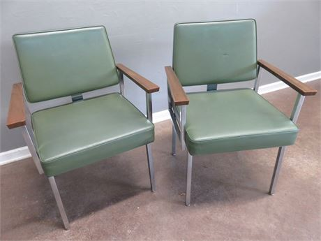 SIGNORE Mid-Century Steel Frame Arm Chairs