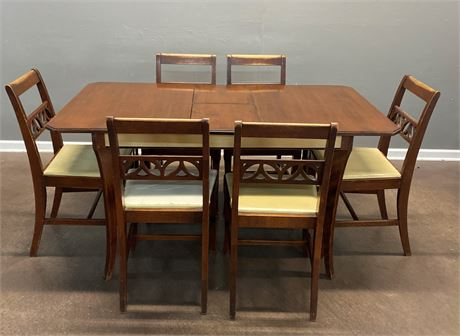 Vintage Wood Table and Six Chairs