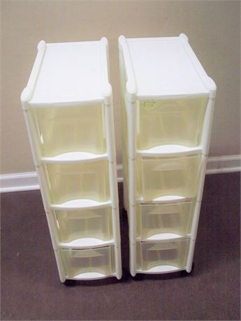 2 RUBBERMAID 4-TIER MODULAR STORAGE BINS ON CASTERS