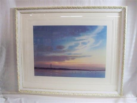FRAMED TRIPLE MATTED SIGNED  #'D PRINT - CAPE HATTERAS LIGHTHOUSE BY KEITH ROSE