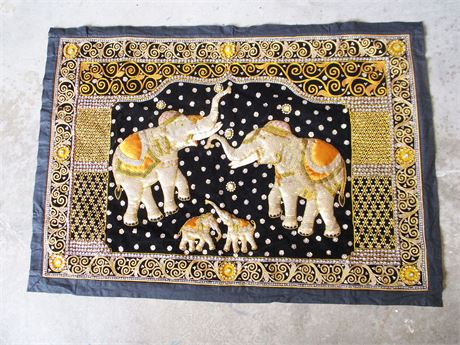 EMBROIDERED ELEPHANT TAPESTRY
