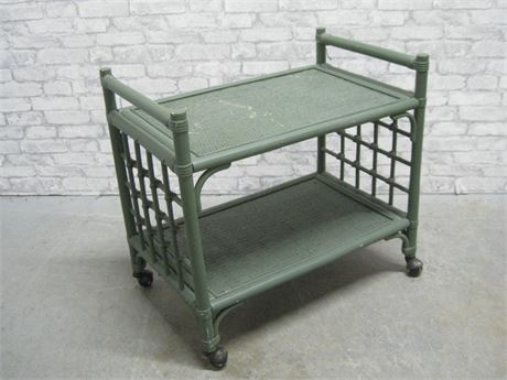 GREEN PAINTED RATTAN SUNROOM FURNITURE SERVING CART