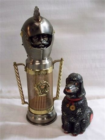 VINTAGE KNIGHT MUSICAL WINE BOTTLE HOLDER AND POODLE DECANTER