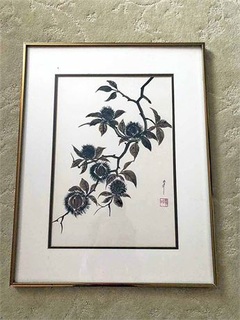 Sumi Ink & Watercolor Framed Painting