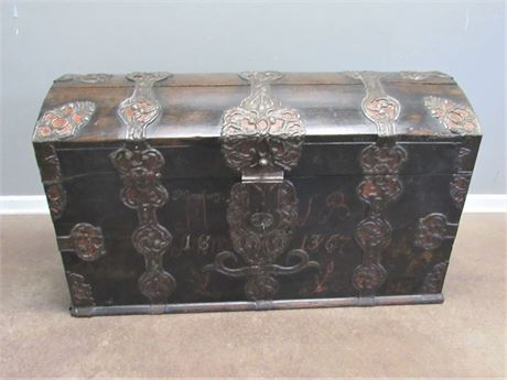 Large Heavy Antique/Vintage Trunk with Wrought Handles and Ornate Metal Trim