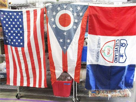 LOT OF 3 FLAGS - OHIO, CLEVELAND, AND U.S.