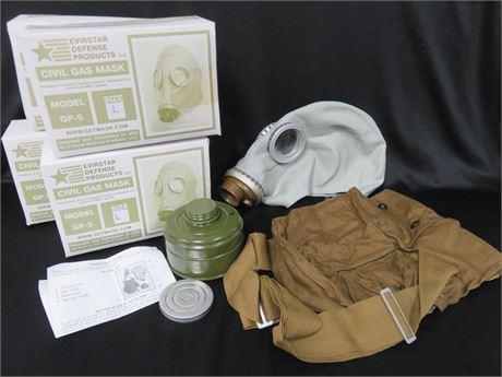 Lot of 4 EVIRSTAR GP-5 Civil Gas Mask Kits - SIZE L