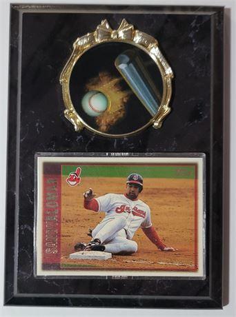 Topps Sandy Alomar Card on Baseball Plaque