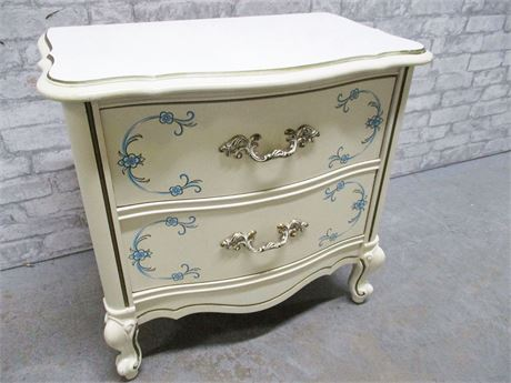 BLUE AND IVORY FRENCH PROVINCIAL 2-DRAWER NIGHTSTAND
