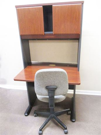 BUSH FURNITURE COMPUTER DESK WITH HUTCH AND CHAIR