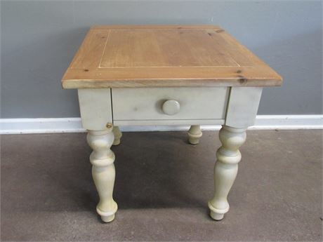 Rustic Painted, Pine Top Side Table with 1 Drawer