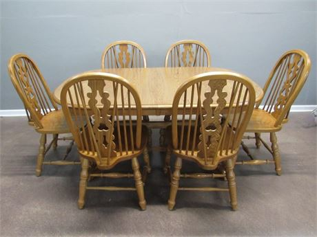 Virginia House Oak Trestle Dining Table with 6 Chairs and 4 Leaves
