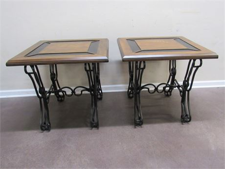 2 MATCHING END TABLES WITH WROUGHT IRON STYLE BASES