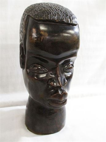 HAND-CARVED EBONY WOOD HEAD