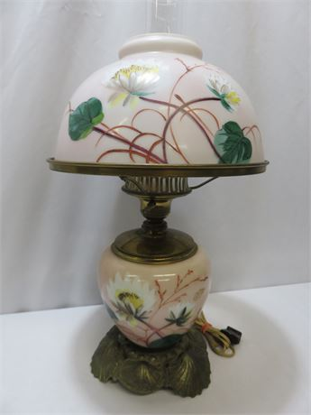 Vintage Hand-Painted Glass Lamp