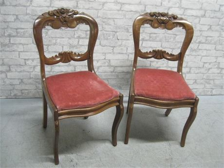 2 BEAUTIFULLY CARVED ANTIQUE DINING CHAIRS
