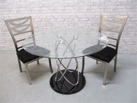 CONTEMPORARY GLASS DINETTE WITH 2 CHAIRS