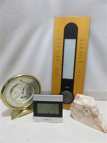 4-Piece Clock/Weather Reading Device Lot