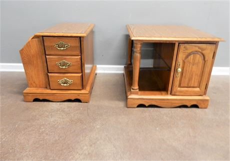 Two Oak Wood Matching Side Tables