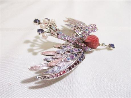 RARE JOAN RIVERS PINK/PURPLE FLYING PEACOCK BROOCH #386