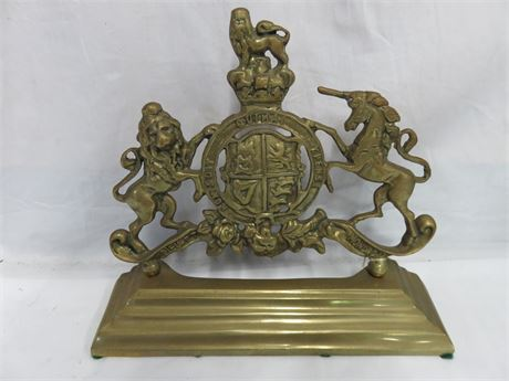 Vintage Dieu Et Mon Droit Coat of Arms Brass Door Porter