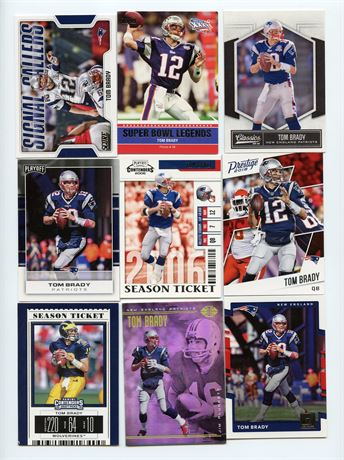TOM BRADY LOT (#2)  9 CARD LOT WITH INSERTS
