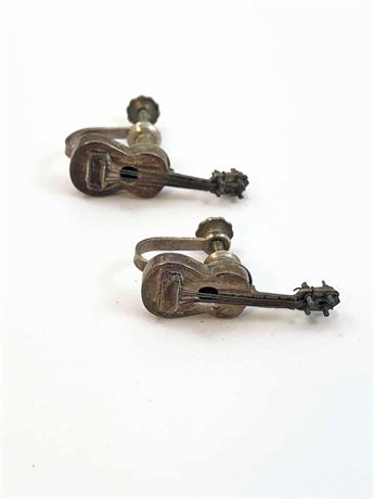 Sterling Silver Guitar Earrings