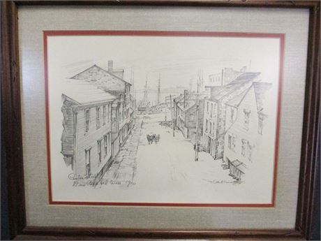 "CHARLES H. OVERLY ""CENTER STREET, NEW BEDFORD MASS 1910"" PRINT"