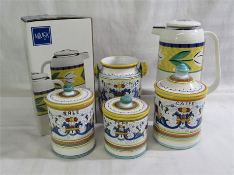 5 PIECE MISC. LOT - INCLUDES MIKASA AND POTTERY CANISTER SET