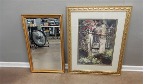 Gold Tone Framed Print and Mirror