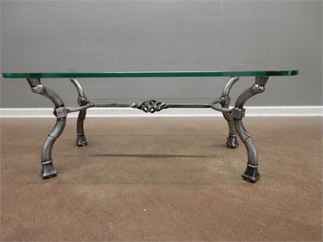 Glass Top / Silver Style Metal Coffee Table