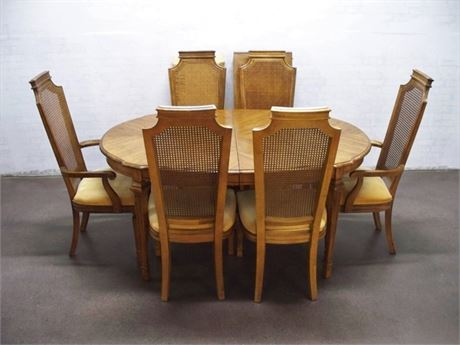 DINING TABLE AND 6 CANE BACK CHAIRS