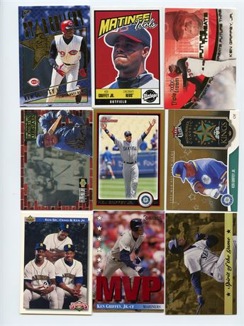 KEN GRIFFEY JR LOT WITH INSERTS 9 CARDS