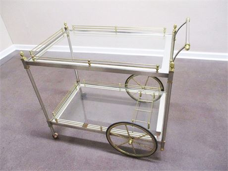 BRASS, NICKEL AND GLASS BEVERAGE CART