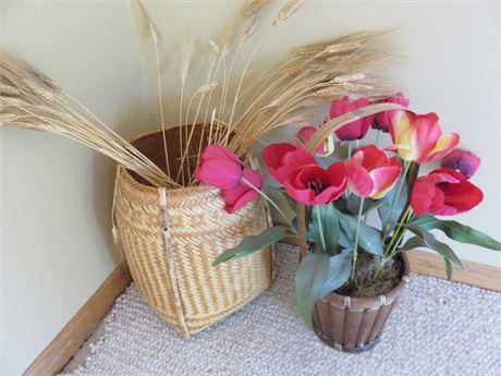 Woven Wicker Basket Faux Flower Lot