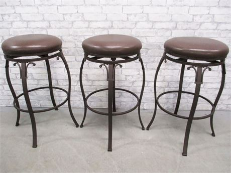 LOT OF 3 LEATHER-TOPPED BARSTOOLS