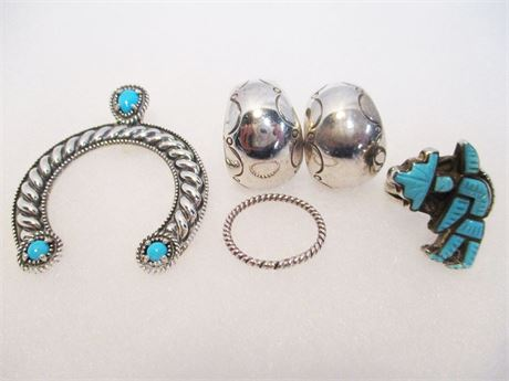 LOT OF BEAUTIFUL TURQUOISE AND STERLING SILVER JEWELRY