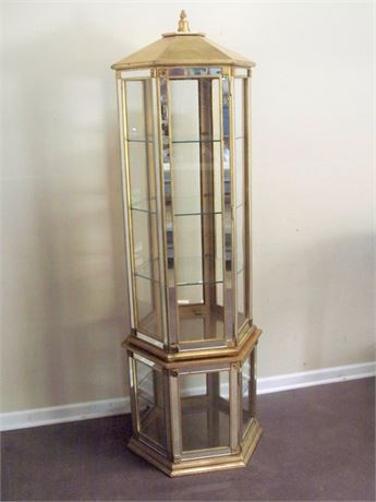 GOLD FINISHED HEXAGON DISPLAY CABINET