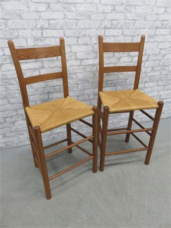 2 Rush Seat Wooden Counter Stools