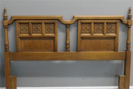 Engraved Carving Wood Headboard & Frame