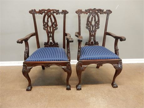 Chippendale Style Wood Chairs a Pair