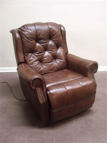 BROWN LEATHER AND VINYL POWER RECLINER